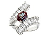 Lab Created Color Change Alexandrite Sterling Silver Bypass Ring 3.52ctw