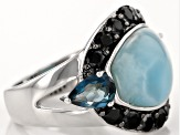 Blue Larimar Sterling Silver Ring 1.75ctw