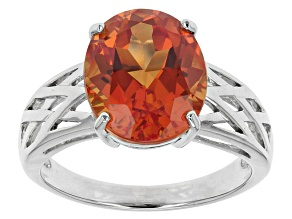 Orange Lab Padparadscha Sapphire Sterling Silver Ring 5.52ct