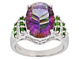 Multicolor Quartz Sterling Silver Ring 5.20ctw