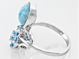 Blue Larimar Sterling Silver Ring. .74ctw