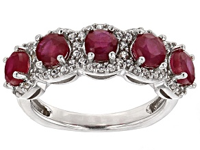 Mahaleo Ruby And White Zircon Sterling Silver Ring 2.17ctw