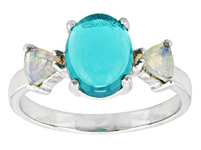 Blue Ethiopian Opal Sterling Silver Ring 1.85ctw