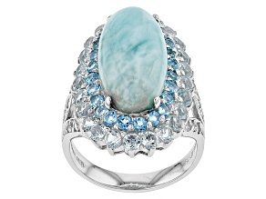 Blue Larimar Sterling Silver Ring 2.74ctw