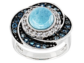 Blue Larimar Sterling Silver Ring .89ctw