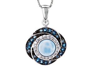Blue Larimar Sterling Silver Pendant With Chain .89ctw