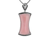 Pink Peruvian Opal Sterling Silver Pendant With Chain