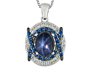 Blue Star Sapphire Sterling Silver Pendant With Chain 2.75ctw