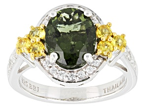 Green Moldavite Sterling Silver Ring 2.73ctw