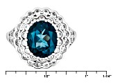 London Blue Topaz Sterling Silver Ring 5.71ctw