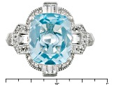 Sky Blue Topaz Sterling Silver Ring 6.43ctw