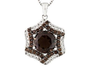 Brown Smoky Quartz Sterling Silver Pendant With Chain 3.25ctw