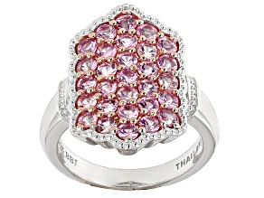Pink Sapphire Sterling Silver Ring 1.75ctw