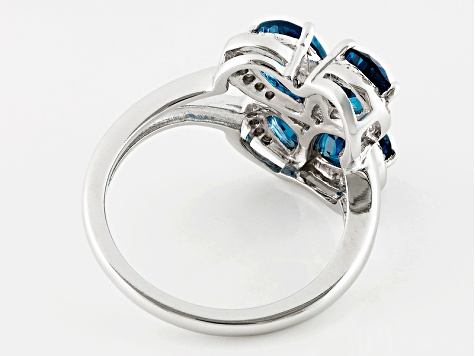 London Blue Topaz Sterling Silver Ring. 3.07ctw