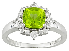 Green Peridot Sterling Silver Ring 1.79ctw