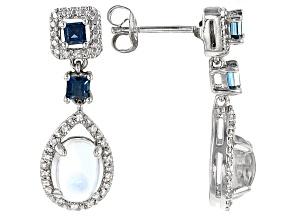 White Moonstone Sterling Silver Earrings .51ctw
