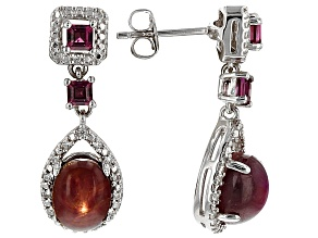 Red indian Star Ruby Sterling Silver Earrings 6.76ctw