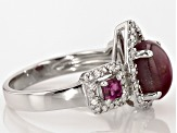 Red indian Star Ruby Sterling Silver Ring 4.51ctw
