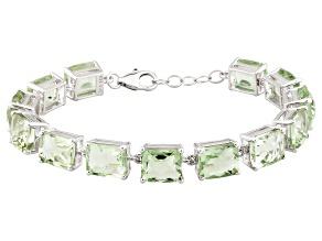 Green Prasiolite Sterling Silver Bracelet 39.00ctw