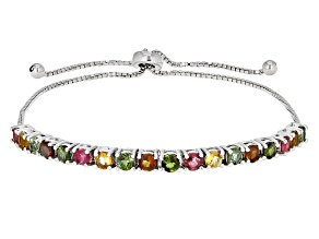 Multi-Tourmaline Rhodium Over Sterling Silver Bracelet. 1.80ctw
