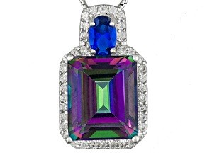 Multi-Color Quartz, Lab Created Blue Spinel And White Zircon Sterling Silver Pendant With Chain