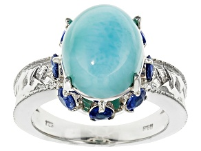 Blue Larimar Sterling Silver Ring 1.26ctw