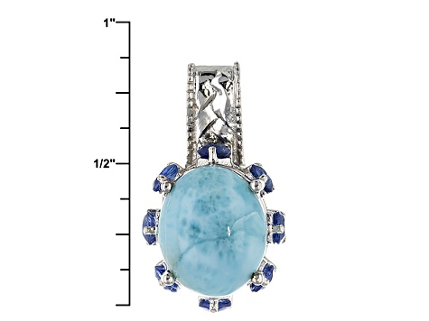 Blue Larimar Sterling Silver Pendant With Chain .95ctw