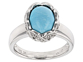 Blue Turquoise Sterling Silver Ring .24ctw