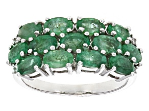 Green Zambian Emerald Rhodium Over Sterling Silver Ring 2.87ctw