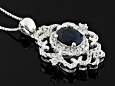 Blue Sapphire Sterling Silver Pendant With Chain 2.08ctw