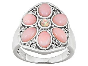 Pink Peruvian Opal, Ethiopian Opal And White Topaz Sterling Silver Ring .09ctw