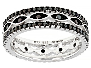 Black Spinel Rhodium Over Sterling Silver Eternity Band .78ctw