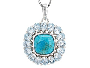 Blue Turquoise Sterling Silver Pendant With Chain. 2.58ctw