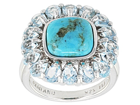 Blue Turquoise Sterling Silver Ring. 3.09ctw