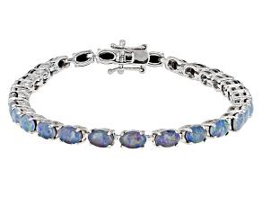 Multi Color Australian Opal Triplet Sterling Silver Tennis Bracelet