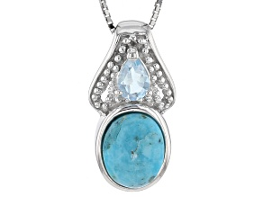 Blue Turquoise Sterling Silver Pendant With Chain .42ctw