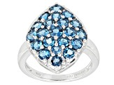 London Blue Topaz Sterling Silver Cluster Ring 2.44ctw