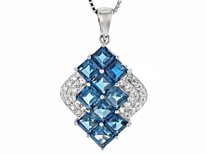 London Blue Topaz Sterling Silver Pendant With Chain 4.07ctw