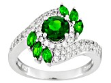 Green Chrome Diopside And White Zircon Sterling Silver Ring. 2.20ctw