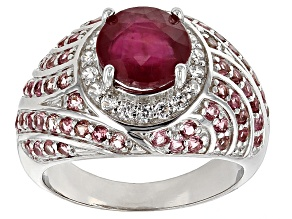 Mahaleo Ruby Sterling Silver Ring 3.81ctw