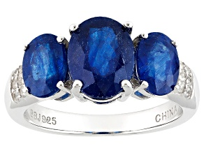 Mahaleo Sapphire Sterling Silver Ring 3.98ctw