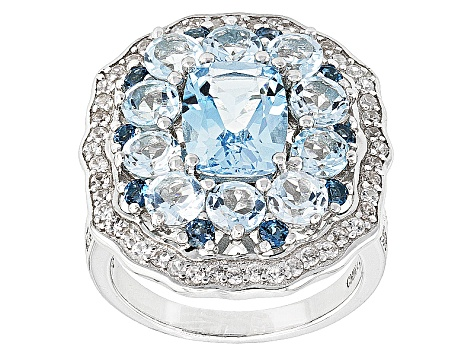 Sky Blue Topaz Sterling Silver Ring 5.80ctw