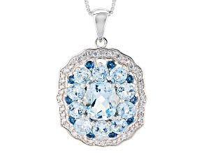 Sky Blue Topaz Sterling Silver Pendant With Chain 6.01ctw