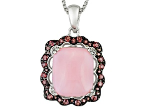 Pink Peruvian Opal Sterling Silver Pendant With Chain .31ctw