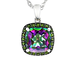Multicolor Quartz Sterling Silver Pendant With Chain 4.52ctw