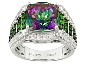 Multicolor Quartz, Chrome Diopside And White Zircon Sterling Silver Ring 5.71ctw