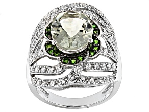 Green Prasiolite, Chrome Diopside And White Zircon Sterling Silver Ring 4.14ctw