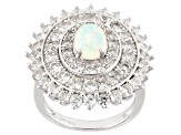 Ethiopian Opal And White Zircon Sterling Silver Ring 4.50ctw