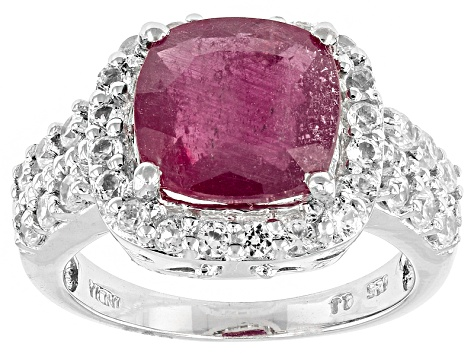 Mahaleo Ruby And White Zircon Sterling Silver Ring. 5.38ctw