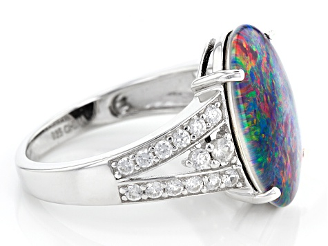 Multicolor Coober Pedy Opal Triplet Sterling Silver Ring 1.47ctw